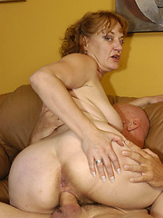 Horny granny takes it in the ass!