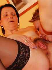 Naughty old and young lesbians get it on