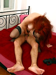 Older woman in black stockings gets her pussy fucked