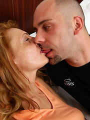 Bald student bangs thick mature weared in stockings