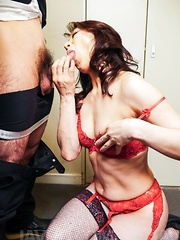 Marina Matsumoto takes office suit off while sucking boss cock
