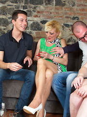 Three naughty mature ladies do it with two horny guys