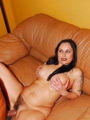 Hairy pussied MILF sucks cock and gets fucked!