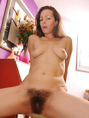 Hairy bushed brunette gets fucked hard!