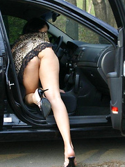 Take semi-nude mature woman to your car and drive