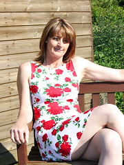 Naughty British housewife playing in her garden