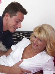 Naughty housewife playing with her younger boyfriend