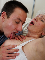 Horny toy boy playing around with a hairy granny